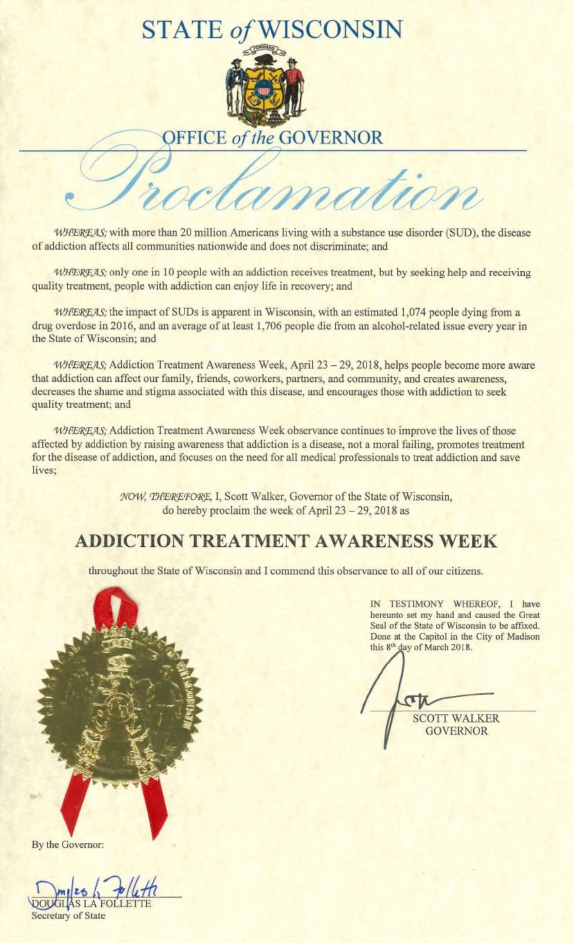 Governor Walker Proclaims Addiction Treatment Week In Wisconsin